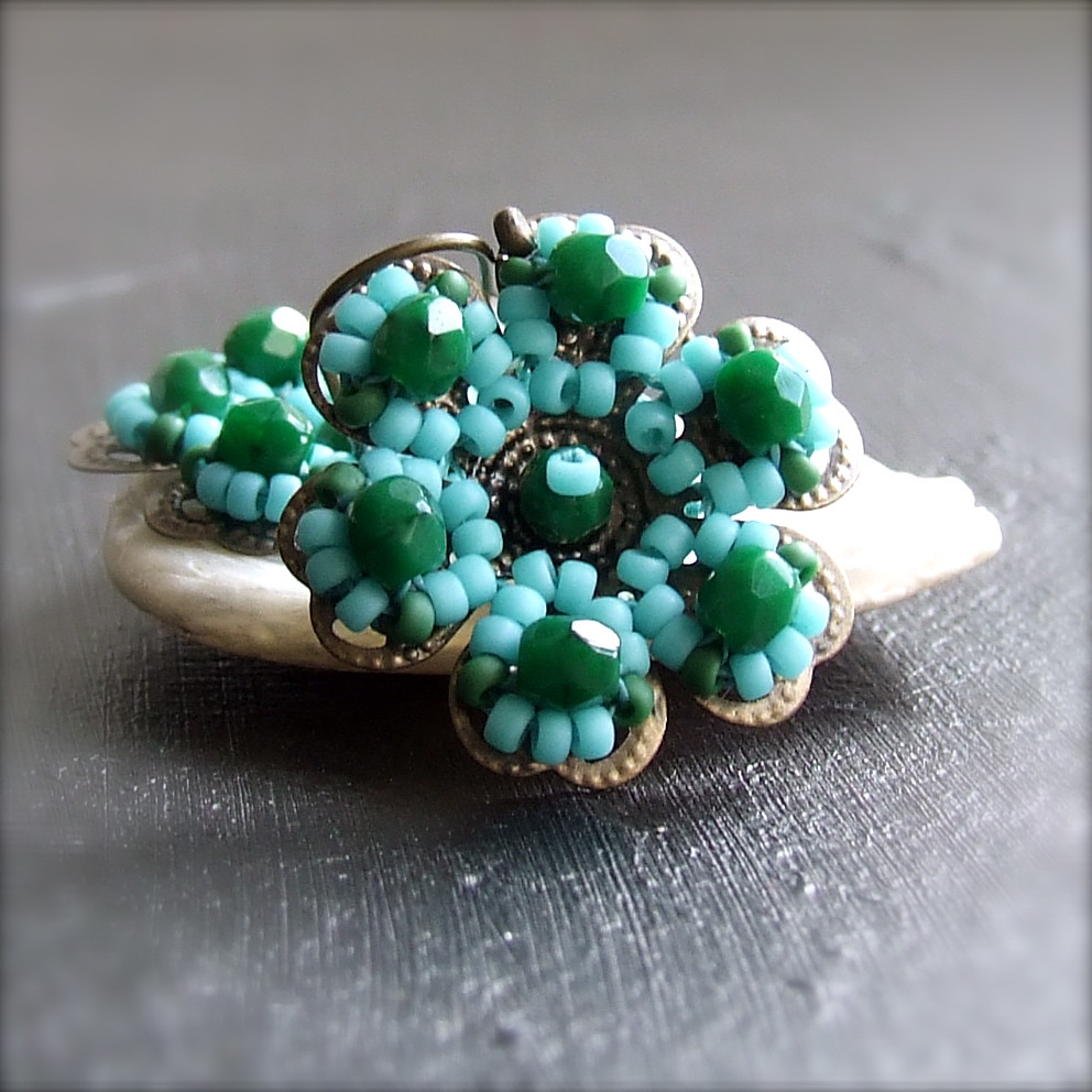 Glass Seed Bead, Brass Flower - Earrings - 'Petalage in Green and Aqua'