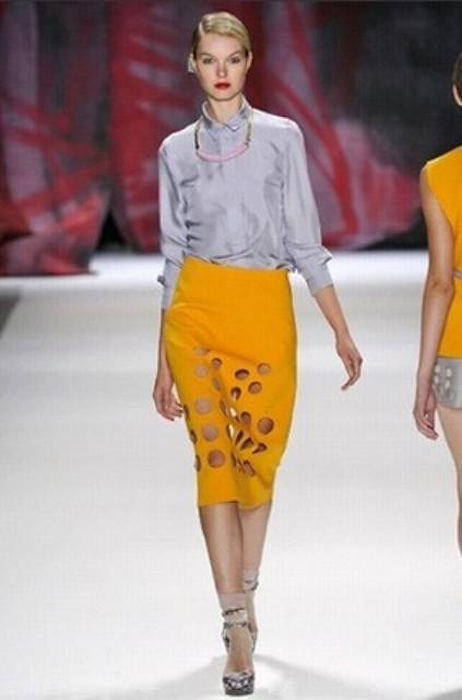 NYC Fashion Week 2010 inspiration Cynthia Rowley holey skirt 2