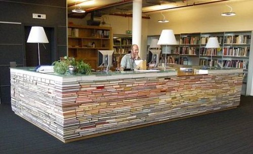 library desk made of books