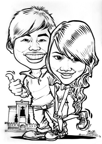 couple caricatures @ temple