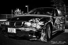 Keep it At 75 (rslhc) Tags: longexposure arizona urban bw cars phoenix car night canon driving crash parking nighttime damage bmw usm wreck 28135mm carcrash 28135mmisusm canonxsi