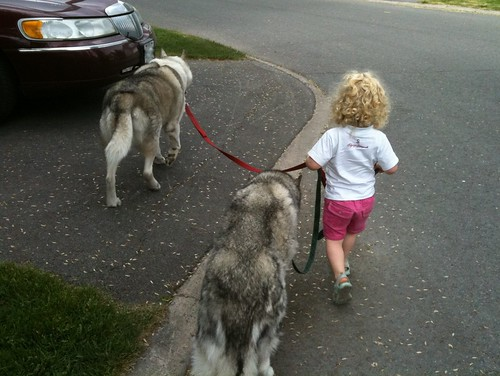 V walking her puppies