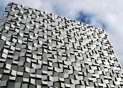 Sheffield Architecture (Tony Worrall Foto) Tags: new uk england white building geometric wall glitter architecture modern clouds design shine steel sheffield yorkshire shapes highrise blocks upright carpark feature yorks sheffieldcarpark