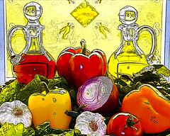 Oil and Vinegar TM Bold - HDR (Bionian) Tags: stilllife vegetables onions peppers hdr pse garlick saladdressing oilandvinegar d80 flickraward