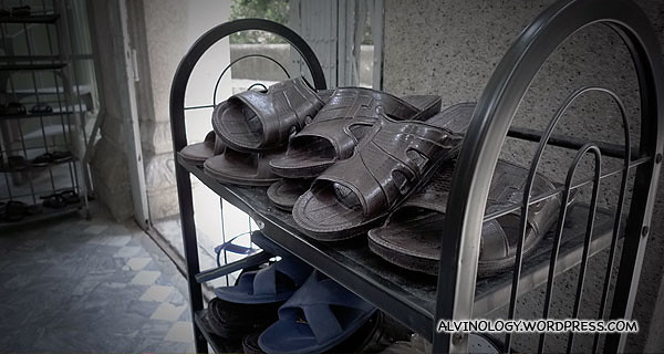 Sandals outside the mosque