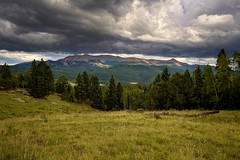 Pike's Peak Monsoonal Flow (Fort Photo) Tags: sky cloud sunlight storm nature rain clouds skyscape landscape nikon peak stormy co pikes thunderstorm cloudscape pikespeak speckled teller 2010 exposureblending twoexposures tellercounty nikon1735 d700