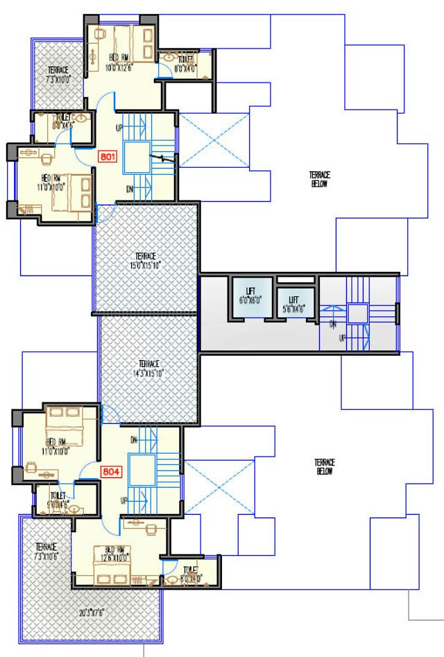 Navjeevan Properties'  Blue Bells, 2 BHK Flats opposite Pu La Deshpande Udyan on Sinhagad Road Floor Plan - 9th floor