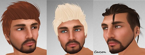 MADesigns Bruno Hair and Light Copper Eyes Bryn Hair and Nature Aquatic Eyes MADesigns Rebel Hair and Promise Green Eyes