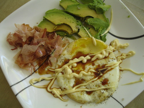 bonito flakes, kewpie, avocado, egg