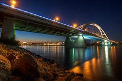 Apollo Bridge (Miroslav Petrasko (blog.hdrshooter.net)) Tags: bridge light reflection night canon lights rocks sigma most slovensko slovakia apollo bratislava danube hdr nigh topaz photomatix gorillapod 450d 1020m mygearandmepremium mygearandmebronze mygearandmesilver mygearandmegold mygearandmeplatinum mygearandmediamond theodevil