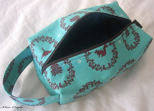Teal Echino Woodland Project Bag - Open