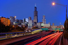 (Kevin Dickert) Tags: road city longexposure sunset urban chicago skyline architecture night buildings twilight cityscape cta skyscrapers blueline traffic dusk searstower towers trails el nighttime fre