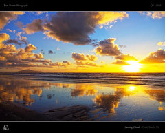 Passing Clouds (tomraven) Tags: ocean blue sea sky beach clouds reflections island gold mirror sand surf kapitiisland goldandblue otakibeach passingclouds tomraven bestcapturesaoi aravenimage q42010