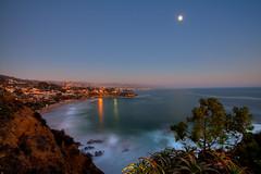 Blue Laguna (ADW44) Tags: california county longexposure orange beach cali mark cliffs fullmoon ii 5d bluehour southerncalifornia orangecounty oc hdr lagunabeach sunsetcanon crescentbaypointpark
