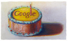 Google's 12th Birthday Logo by Wayne Thiebaud (Si1very) Tags: art google candles paintings birthdaycake logos waynethiebaud googlelogos