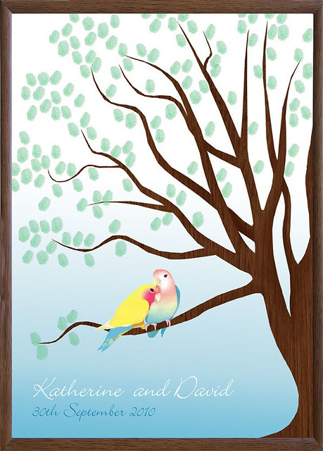 love birds guest book tree