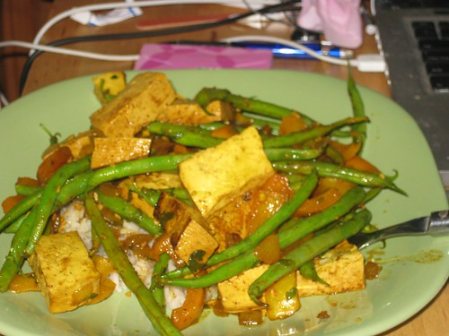 Stir fry with green beans and tofu