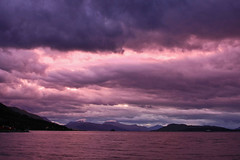 **Holm** (**klaracolor**) Tags: pink sunset sea cloud mountain mountains nature water norway ferry c