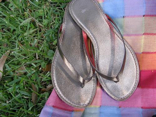 shiny sandals.