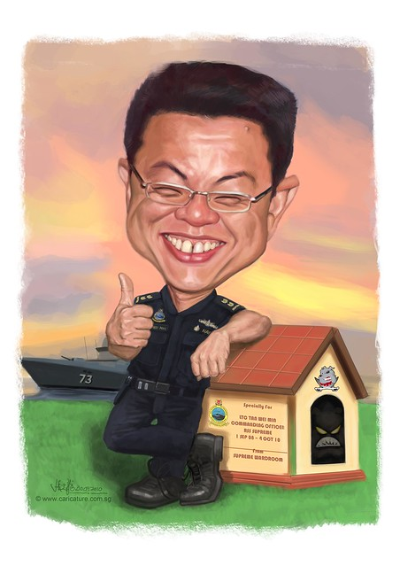 digital caricature for Singapore Navy