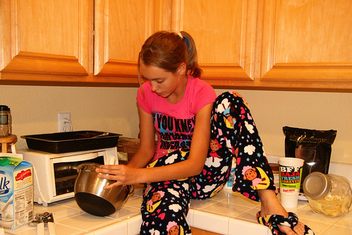 I guess 12 is not too old to sit on the counter in your PJs and eat cake batter out of the bowl.