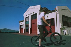 Tyler (bikehitscar) Tags: sf house color film bike bicycle wall 35mm canon fire 1 bay bmx freestyle san francisco fuji ride kodak tricks area a1 trick mm 35 wallride