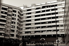 Zentrum (Incase.) Tags: bw building berlin kreuzberg flat dishes zentrum lidl aaronrose iphone4