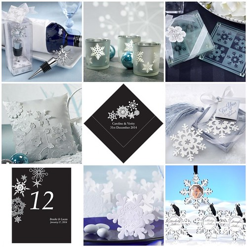 Capture the essence of the season with snowflake wedding favors and