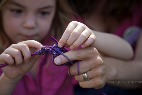 Young knitter at work