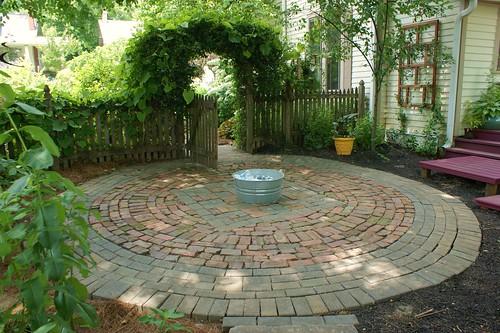 Circular Patio Of Brick And Stone