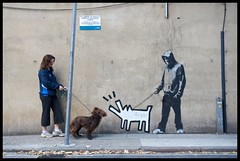 Banksy (Romany WG) Tags: street dog london art hoodie stencil banksy walker 2010 haring
