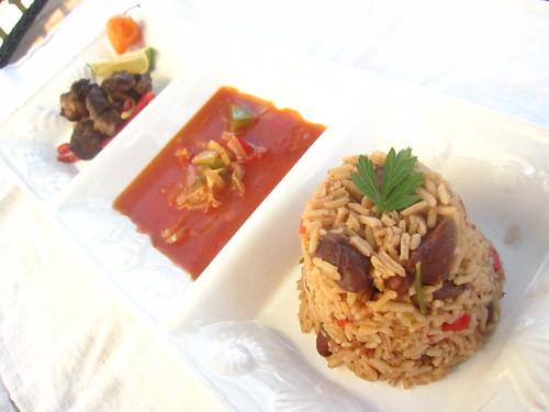 Haitian Griyo, sauce ti malice and rice n'beans