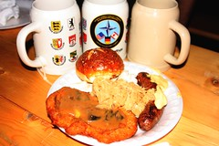 Wiener schnitzel, sauerkraut, bratwurst, brot und bier! (jayinvienna) Tags: beer dulles sauerkraut oktoberfest mug bier stein bratwurst schnitzel krug germanbeernight germanbeernight2010 germanfoodfoodwiener