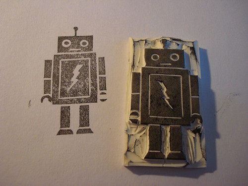 Profile Surprise hand carved robot stamp