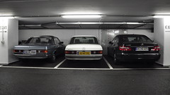 My Mercedes next to some other Mercs (Michiel2005) Tags: auto car mercedes parking mercedesbenz coupe w123 parkeergarage eclass eklasse 200d e200cdi