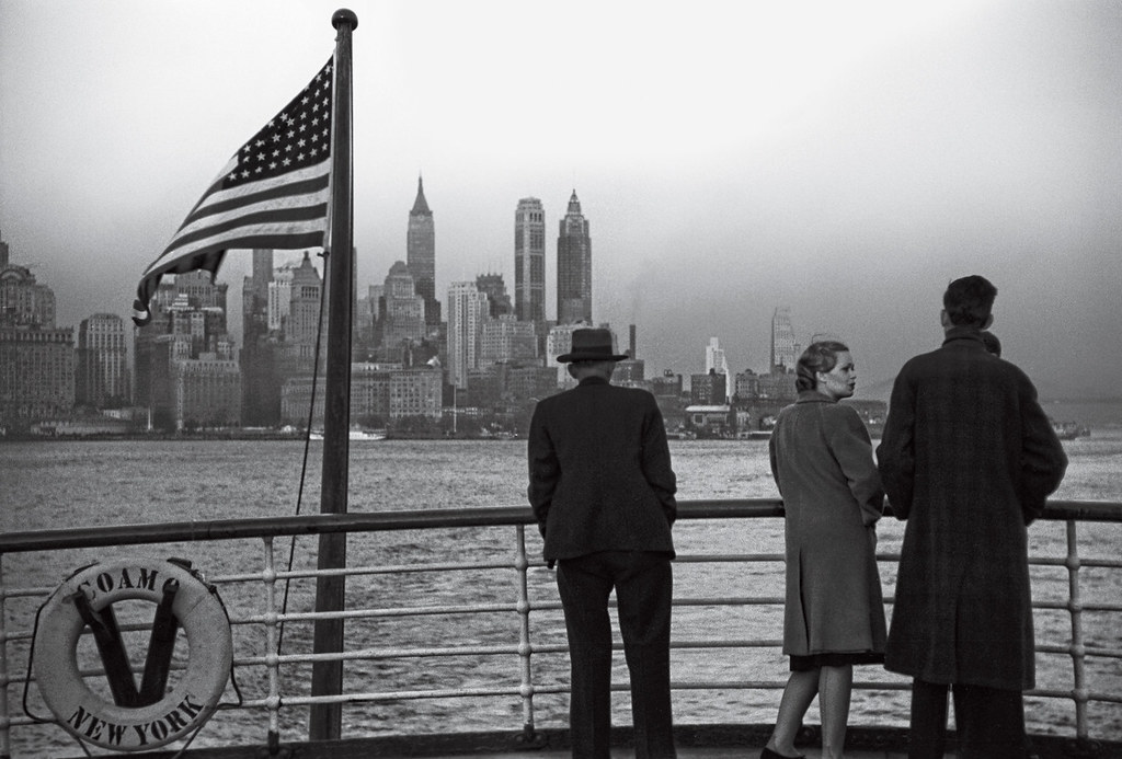 Jack Delano: A shot of Lower Manhattan, as seen from a departing ship, 1941.