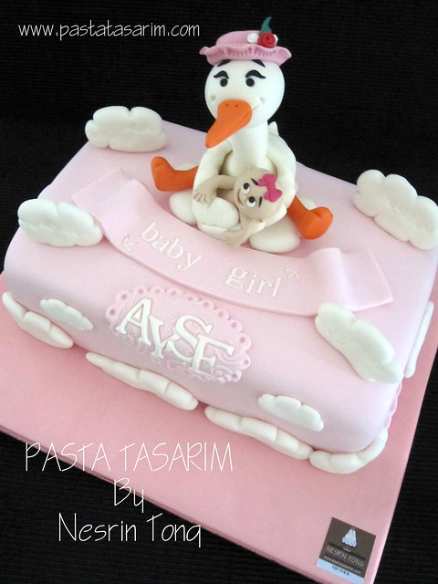 baby shower cake- stork and baby AYŞE