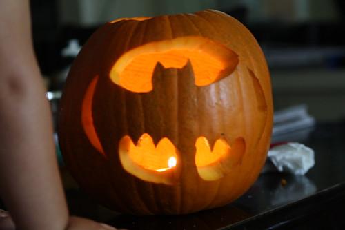 Finn's Batman pumpkin