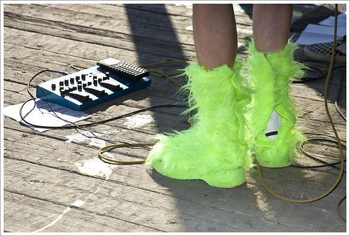 Fuzzy Lime Boots
