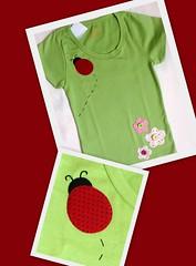 Camiseta Jardim (Patch For Kids) Tags: flores gato joaninha patchcolagem applique camisetascustomizadas patchapliqu