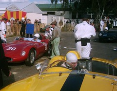 Sir Stirling Moss arrives back at paddock reception in his OSCA (74Mex) Tags: moss stirling sir goodwood osca 2010 revival