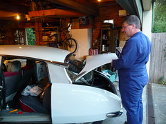 Garth being useful (UFO1966) Tags: citroen sydney ds australia citron ufo nsw newsouthwales respray dspcial dspecial