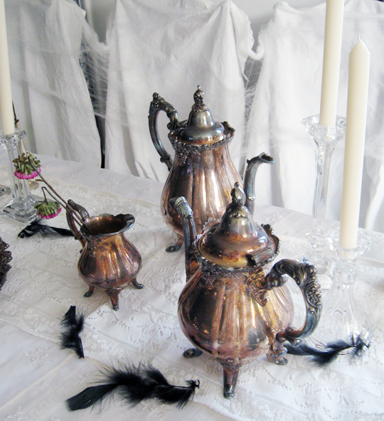 vintage silver tea set tarnished+haunted halloween table top+black feathers