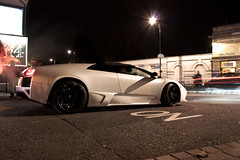 LP640R letting off steam. (Alex Penfold) Tags: white cars alex sports car night canon dark photography lights photo cool italian shoot italia shot image awesome picture fast convertible super exotic photograph lp trailer lamborghini supercar exotica 2010 roadster murcielago lambo penfold 640 murci lp640 450d hpyer lp6404