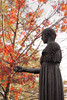 help (k.pat) Tags: autumn red strange leaves statue bronze missing arm shake greetings limb amputee kpat