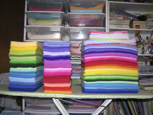 Stacks of fleece colors for Hug Me! Slugs