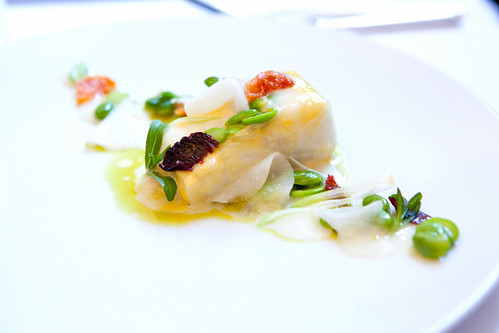 Olive oil poached halibut