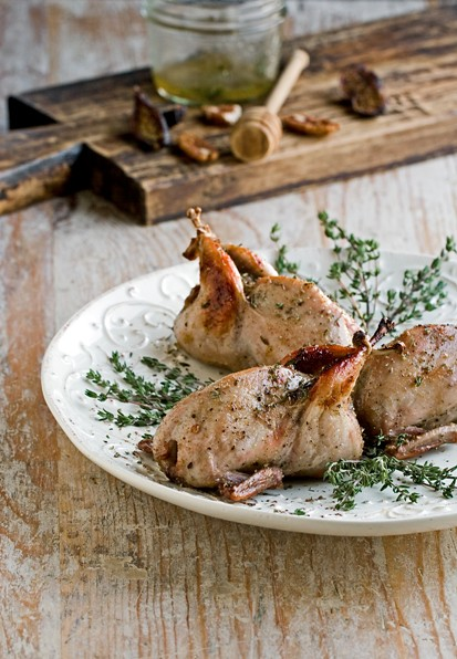 Pecan and Fig Stuffed Quails