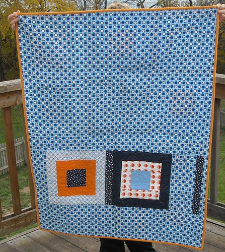 blue/orange charity quilt back