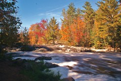White Water Fall (chumlee10) Tags: autumn trees color fall water wisconsin sony rapids mercer wi a300 ironcounty turtleflambeauflowage lakeofthefalls